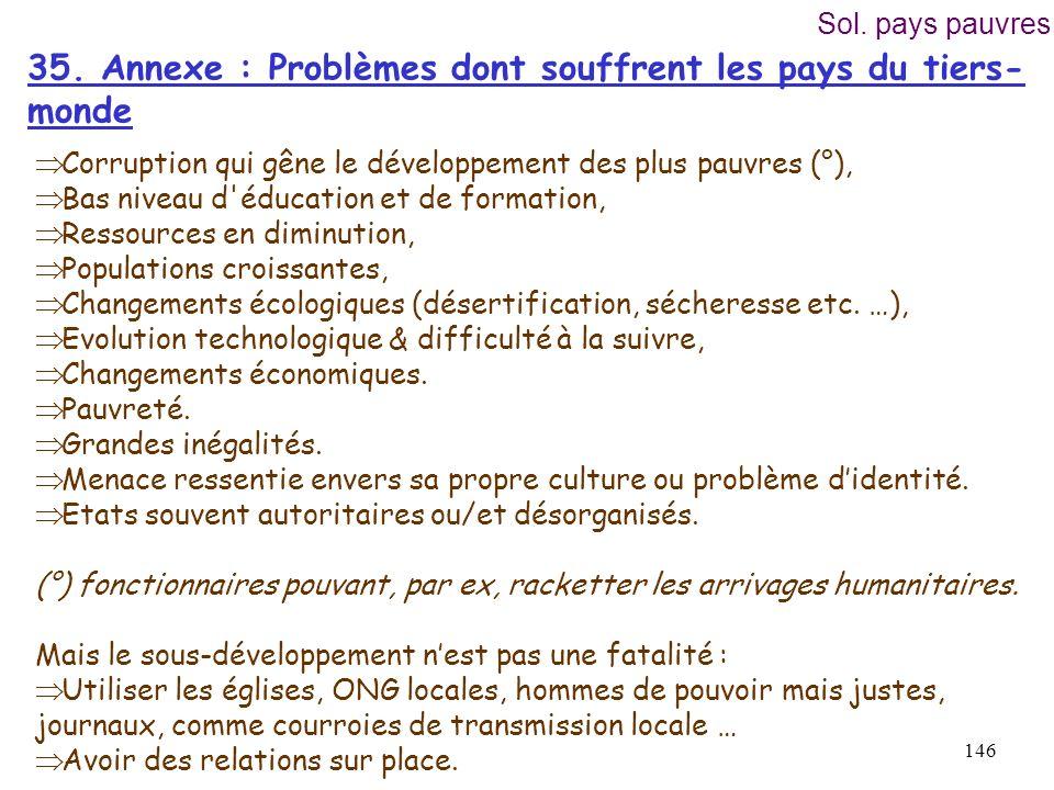 35. Annexe : Problèmes dont souffrent les pays du tiers-monde