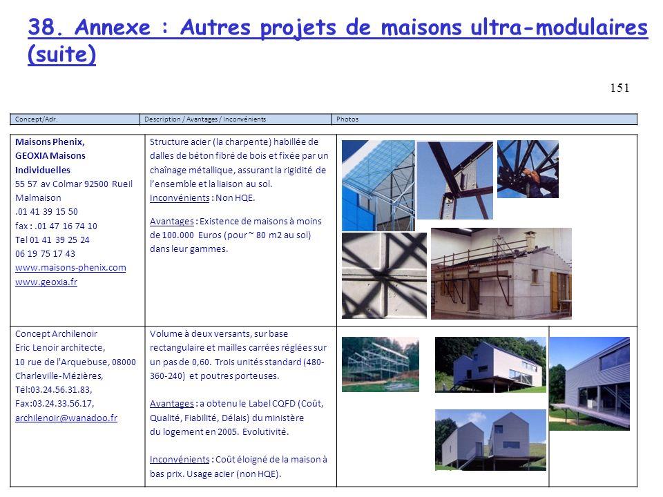 38. Annexe : Autres projets de maisons ultra-modulaires (suite)