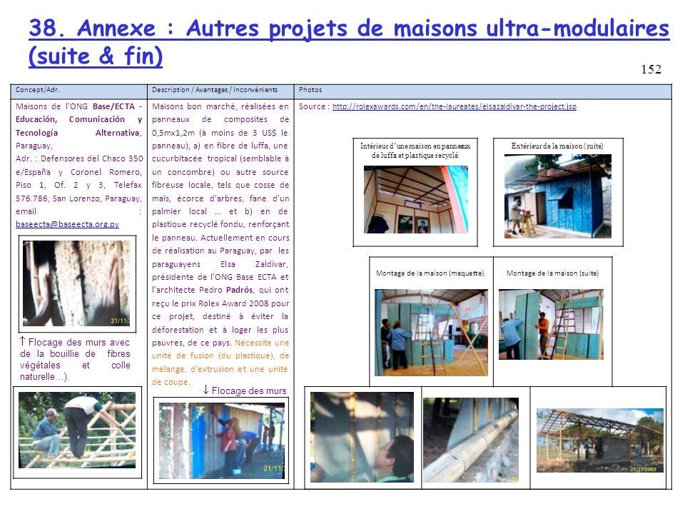 38. Annexe : Autres projets de maisons ultra-modulaires (suite & fin)