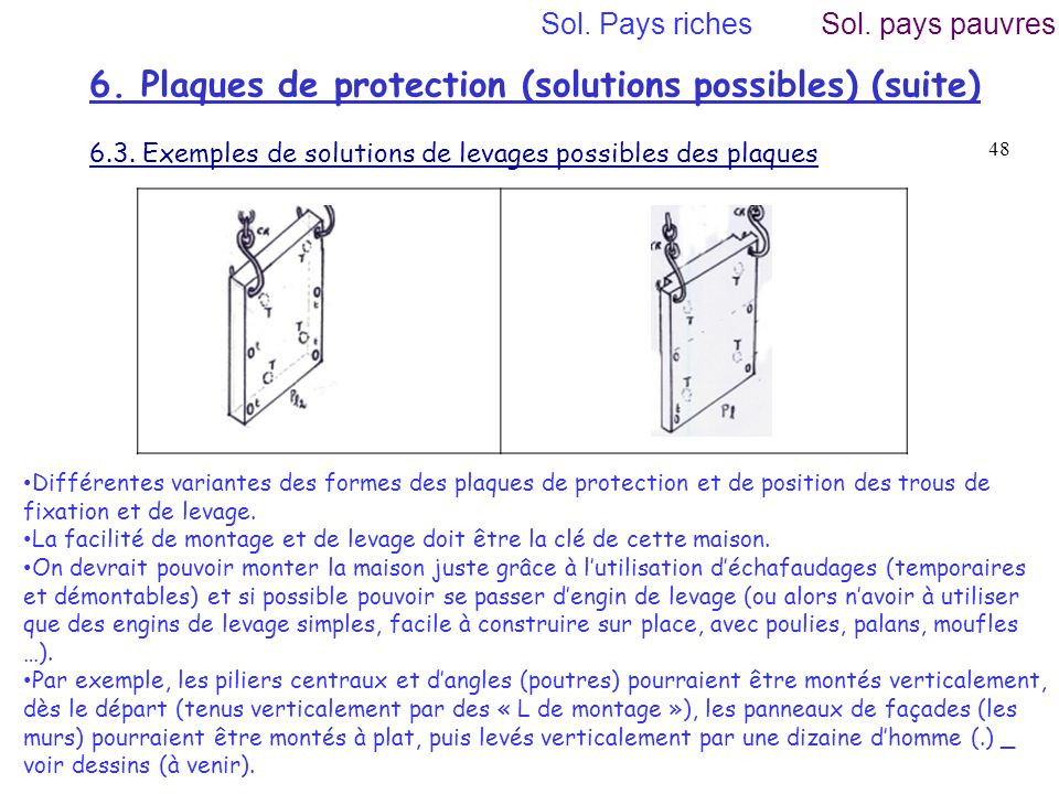 6. Plaques de protection (solutions possibles) (suite)