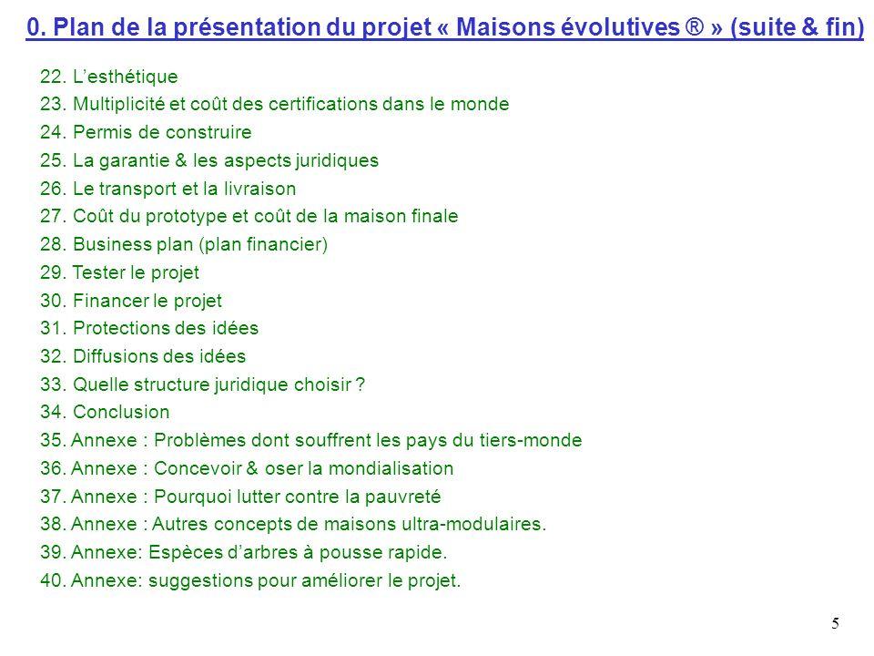 0. Plan de la présentation du projet « Maisons évolutives ® » (suite & fin)