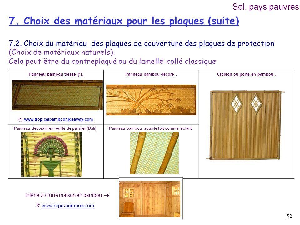 7. Choix des matériaux pour les plaques (suite)