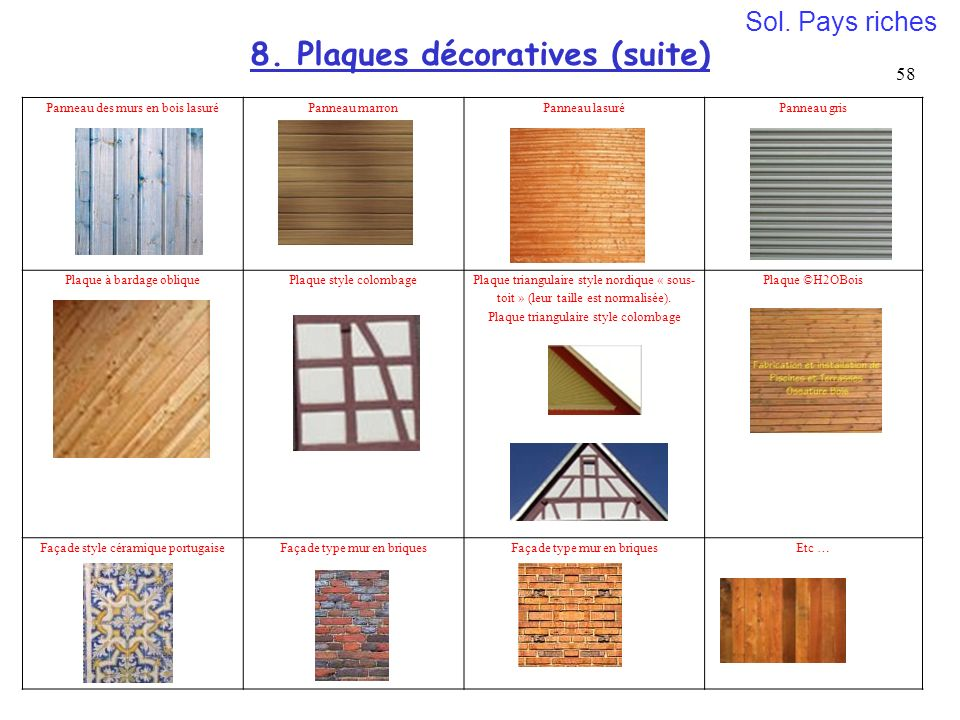 8. Plaques décoratives (suite)