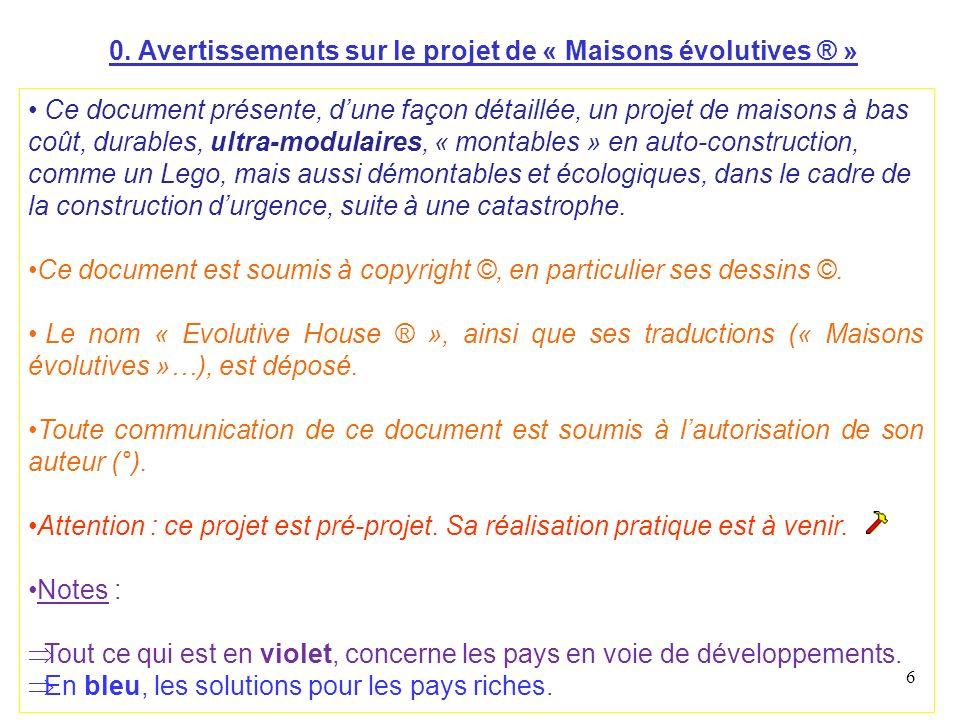 0. Avertissements sur le projet de « Maisons évolutives ® »