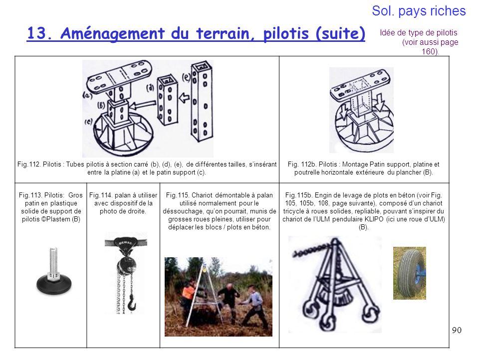 13. Aménagement du terrain, pilotis (suite)