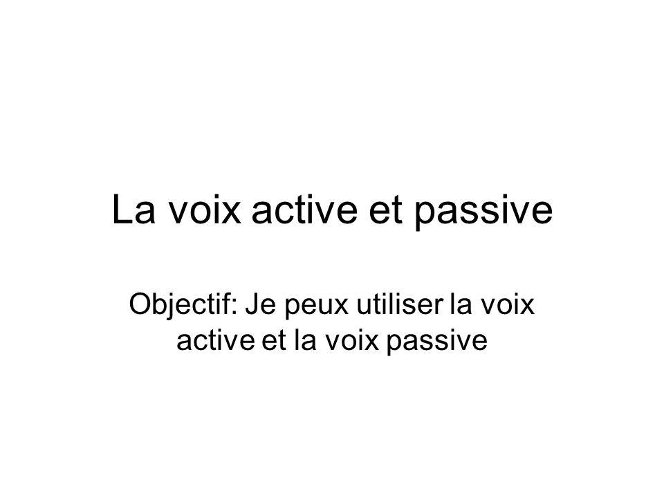 La voix active et passive