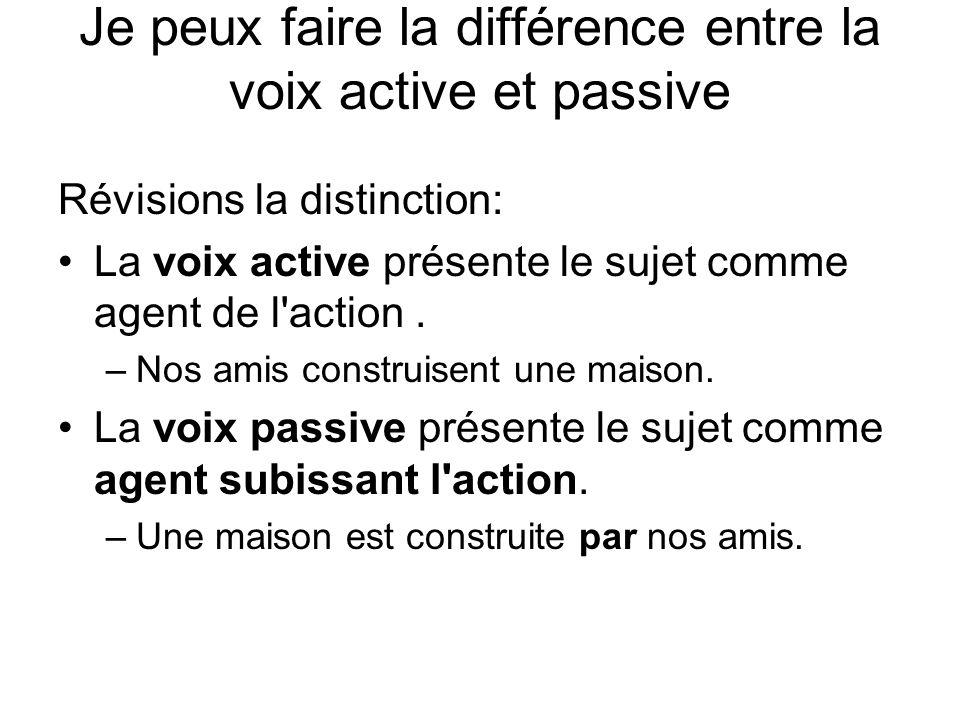 Je peux faire la différence entre la voix active et passive