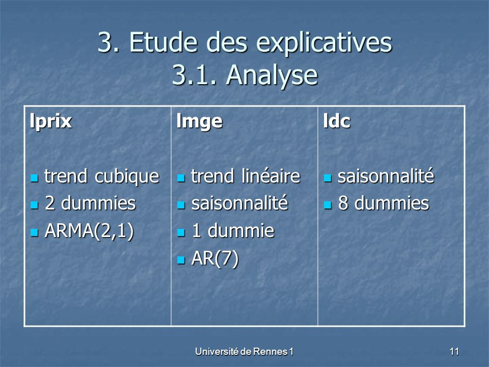 3. Etude des explicatives 3.1. Analyse