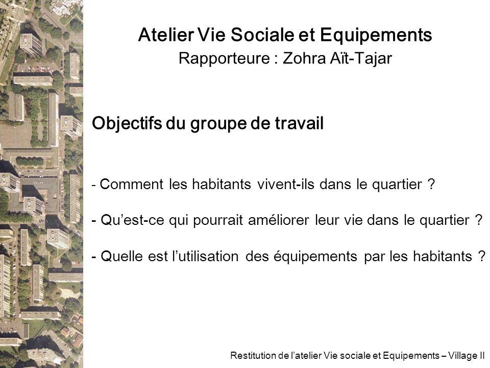 Atelier Vie Sociale et Equipements