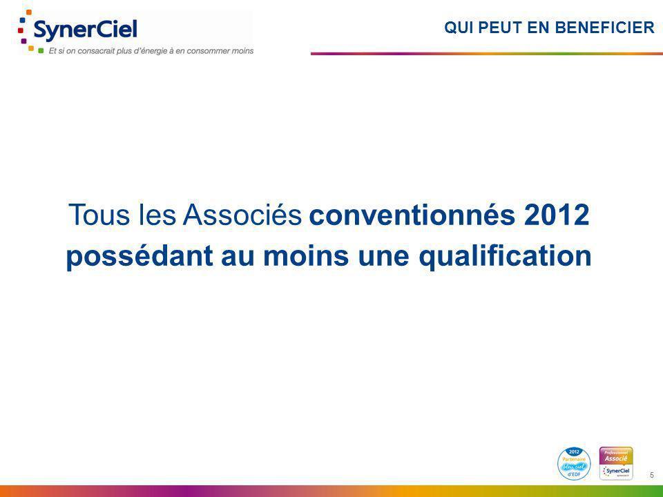 QUI PEUT EN BENEFICIER Tous les Associés conventionnés 2012 possédant au moins une qualification.