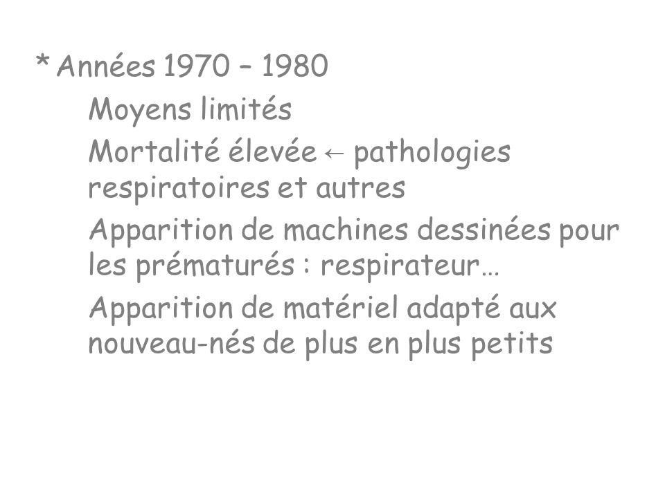 * Années 1970 – 1980 Moyens limités. Mortalité élevée ← pathologies respiratoires et autres.