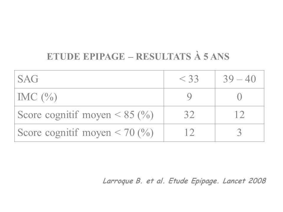 ETUDE EPIPAGE – RESULTATS À 5 ANS