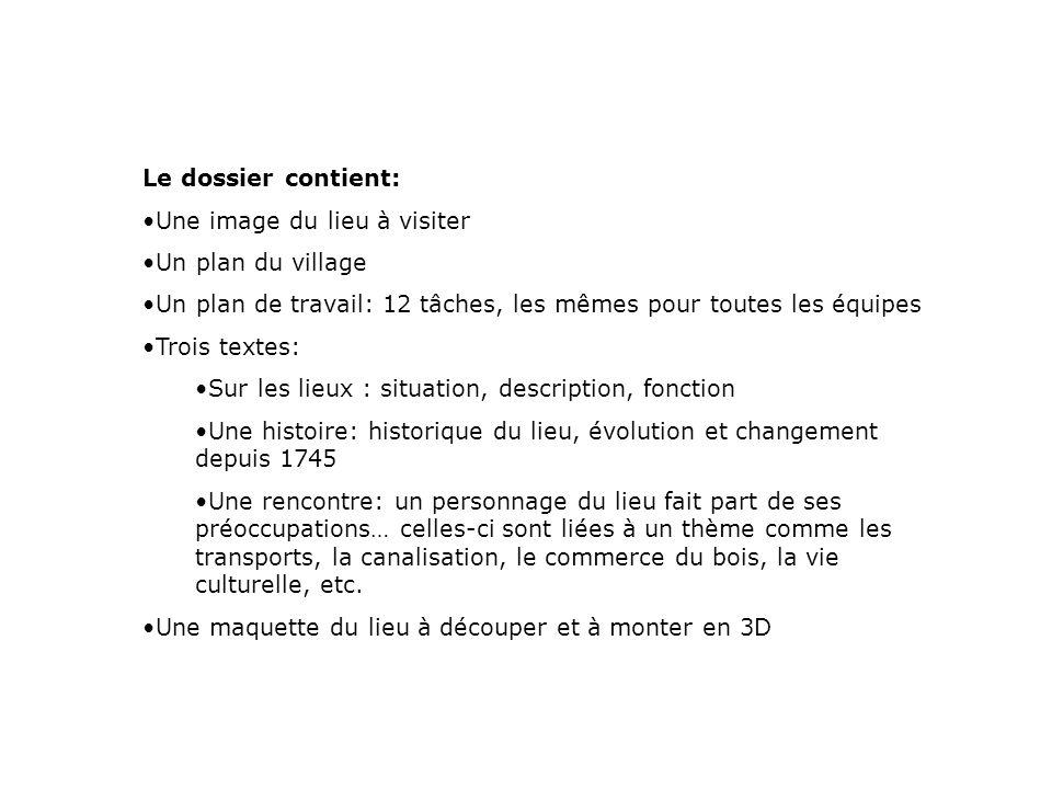 Le dossier contient: Une image du lieu à visiter. Un plan du village. Un plan de travail: 12 tâches, les mêmes pour toutes les équipes.