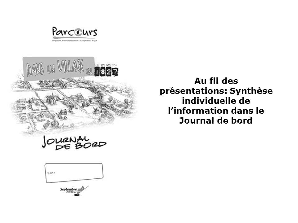 Au fil des présentations: Synthèse individuelle de l'information dans le Journal de bord