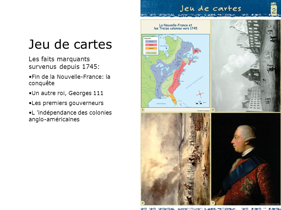 Jeu de cartes Les faits marquants survenus depuis 1745: