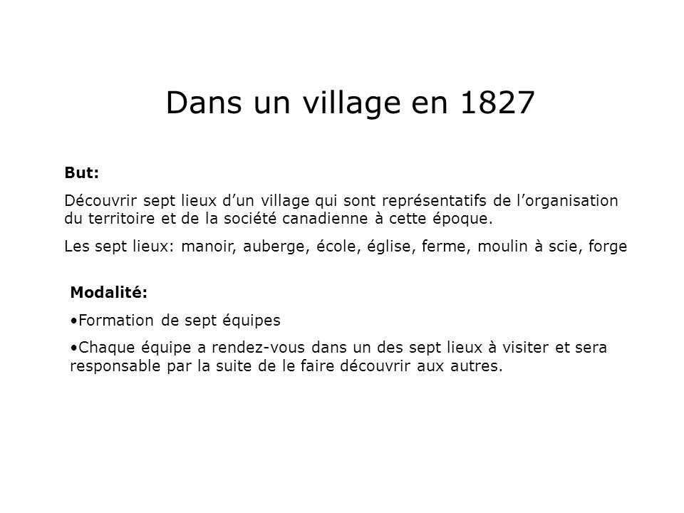 Dans un village en 1827 But: