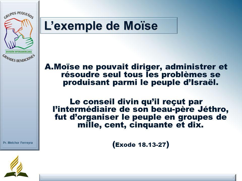 L'exemple de Moïse A. Moïse ne pouvait diriger, administrer et résoudre seul tous les problèmes se produisant parmi le peuple d'Israël.