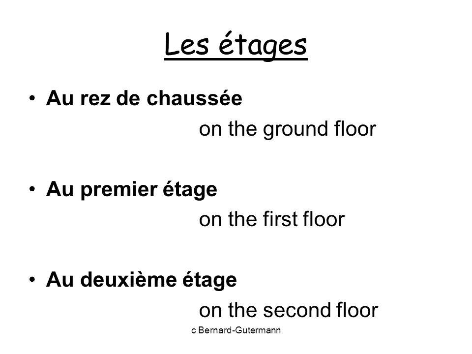 Les étages Au rez de chaussée on the ground floor Au premier étage