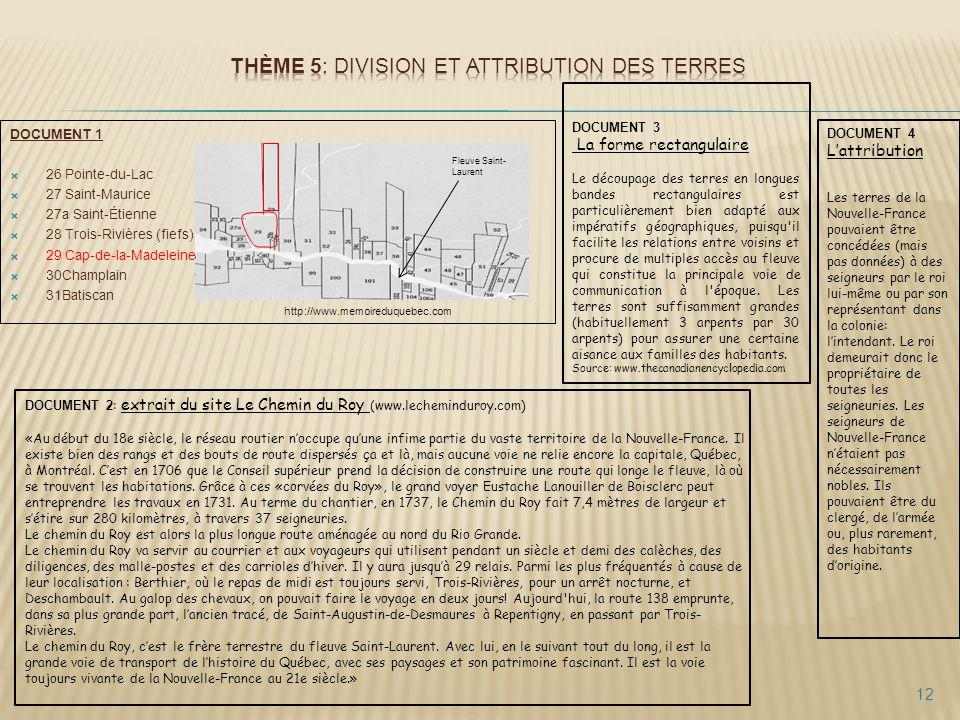 Thème 5: Division et attribution des terres