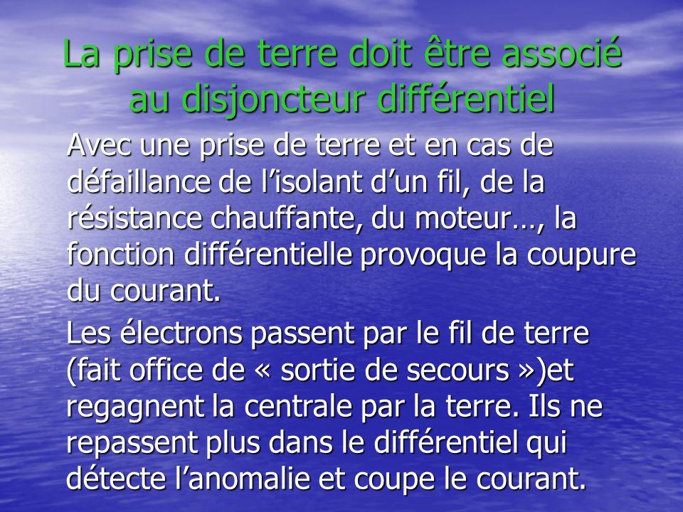 La prise de terre doit être associé au disjoncteur différentiel