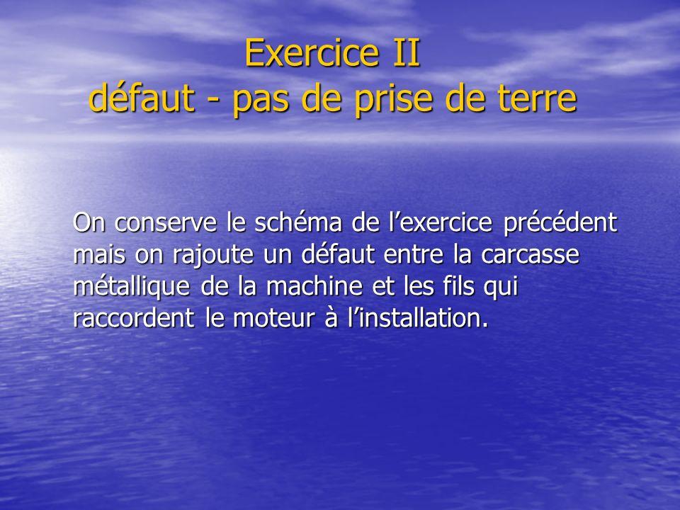 Exercice II défaut - pas de prise de terre