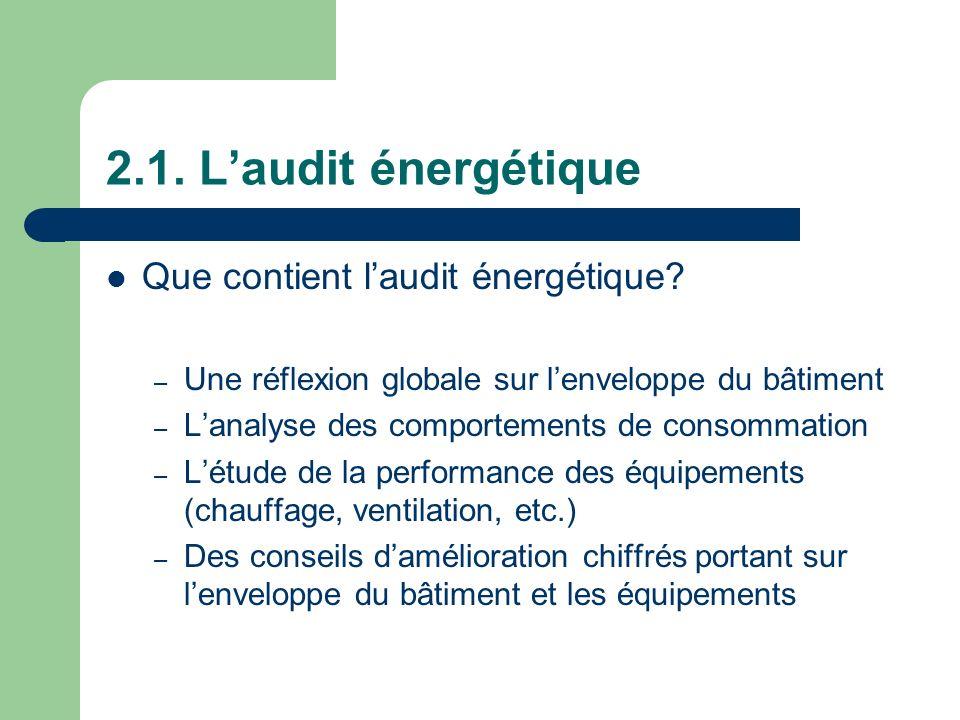 2.1. L'audit énergétique Que contient l'audit énergétique