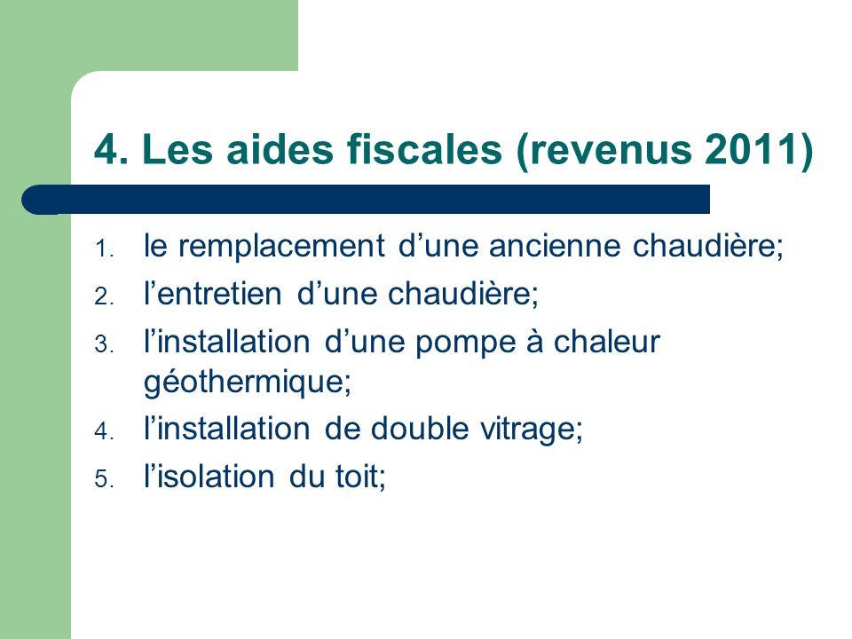 4. Les aides fiscales (revenus 2011)