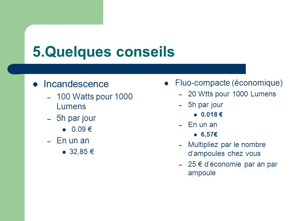 5.Quelques conseils Incandescence Fluo-compacte (économique)