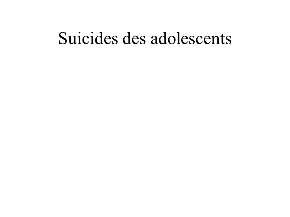 Suicides des adolescents