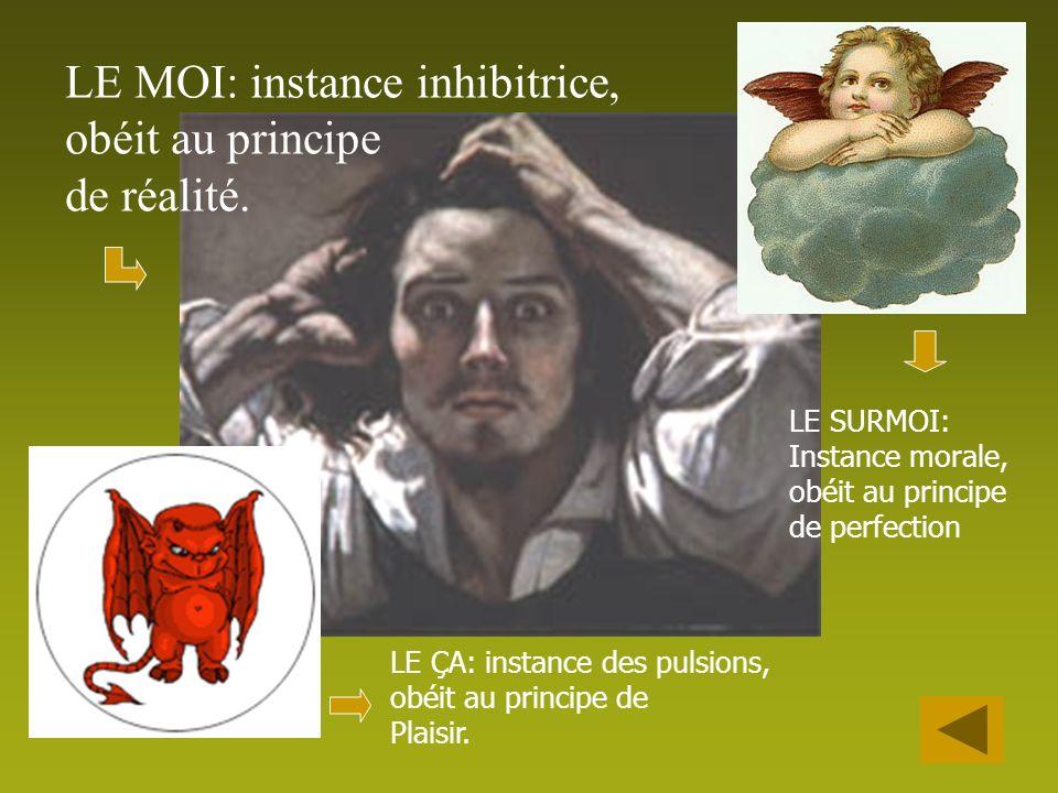 LE MOI: instance inhibitrice, obéit au principe de réalité.