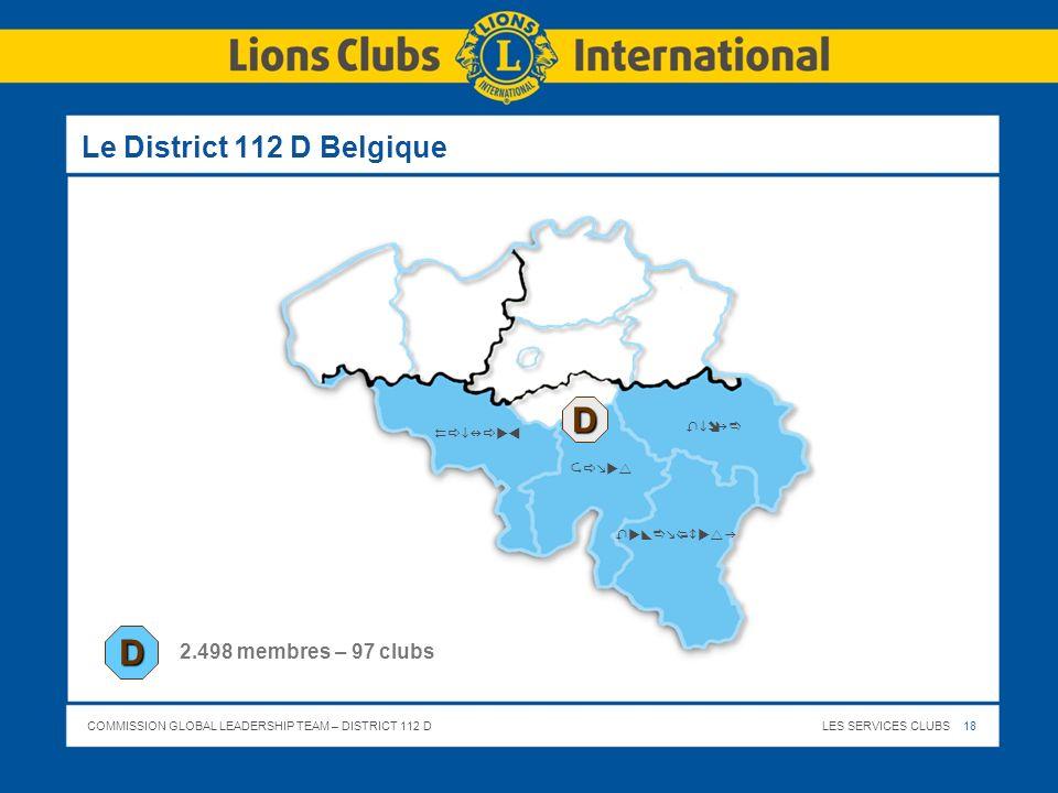 D D Le District 112 D Belgique 2.498 membres – 97 clubs Liège Hainaut