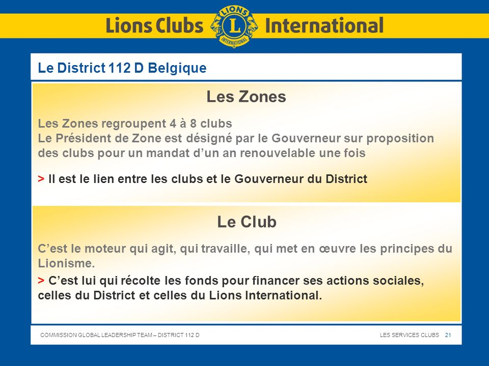 Les Zones Le Club Le District 112 D Belgique