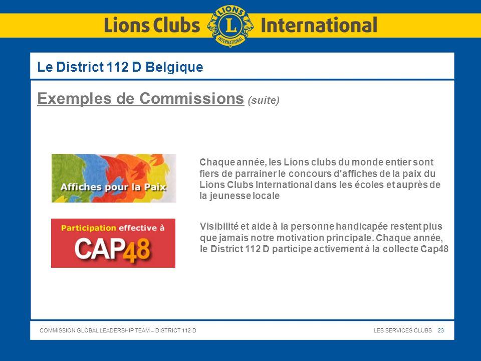 Exemples de Commissions (suite)