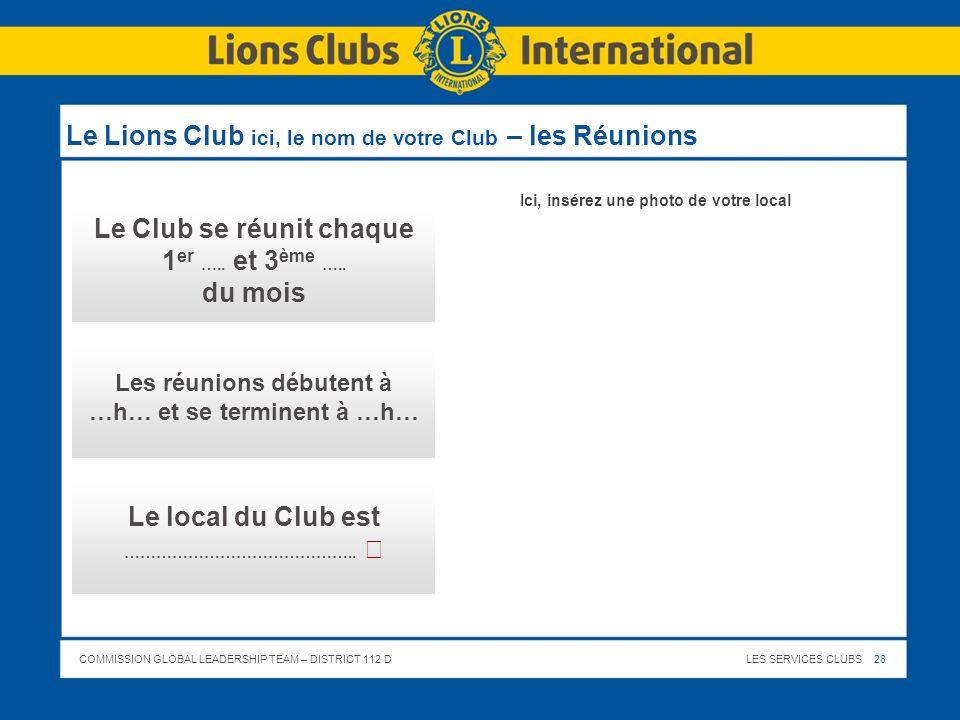 Le Lions Club ici, le nom de votre Club – les Réunions