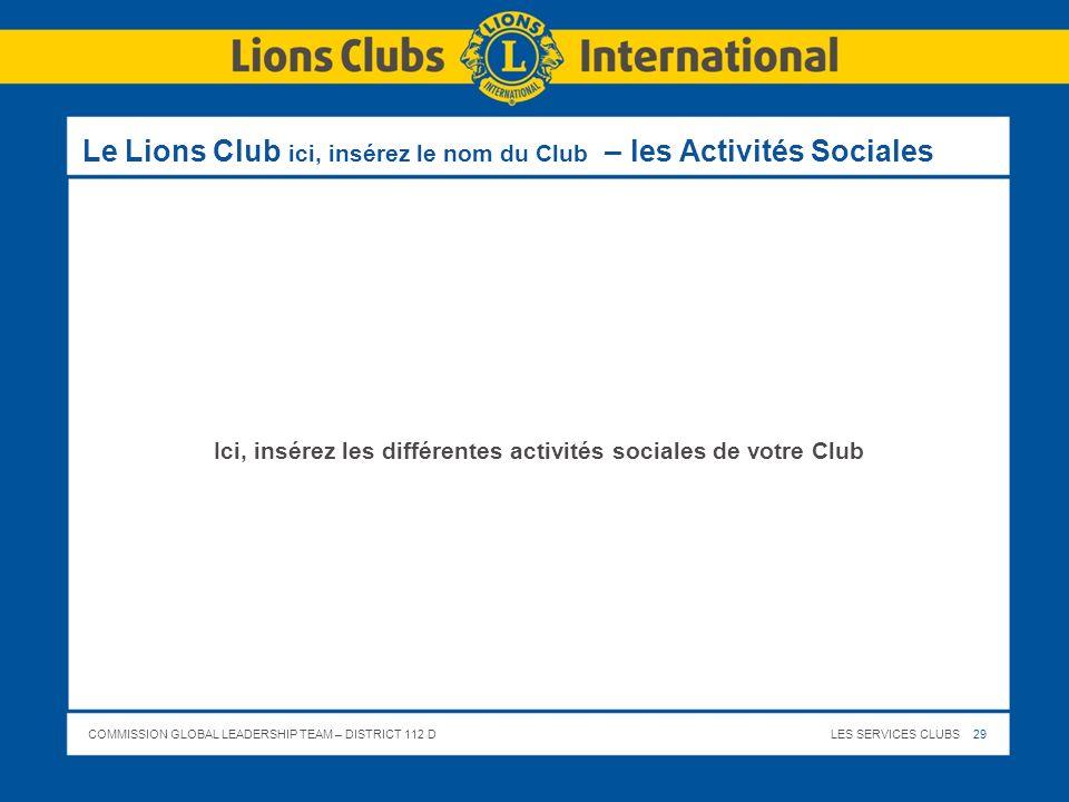 Le Lions Club ici, insérez le nom du Club – les Activités Sociales