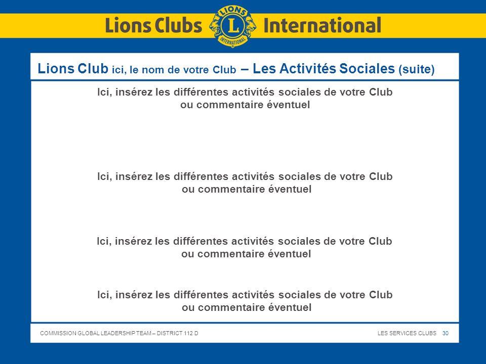 Lions Club ici, le nom de votre Club – Les Activités Sociales (suite)