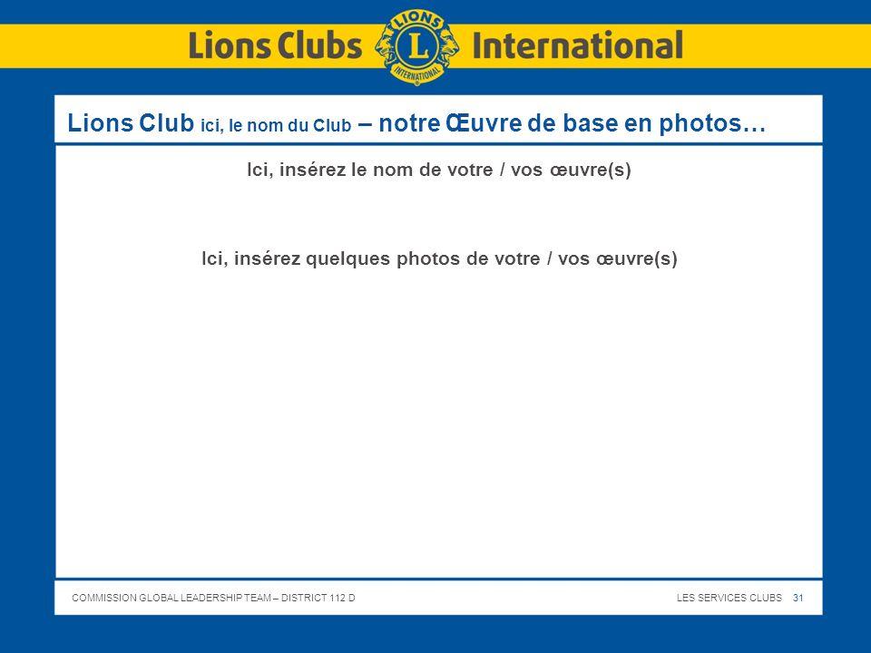 Lions Club ici, le nom du Club – notre Œuvre de base en photos…
