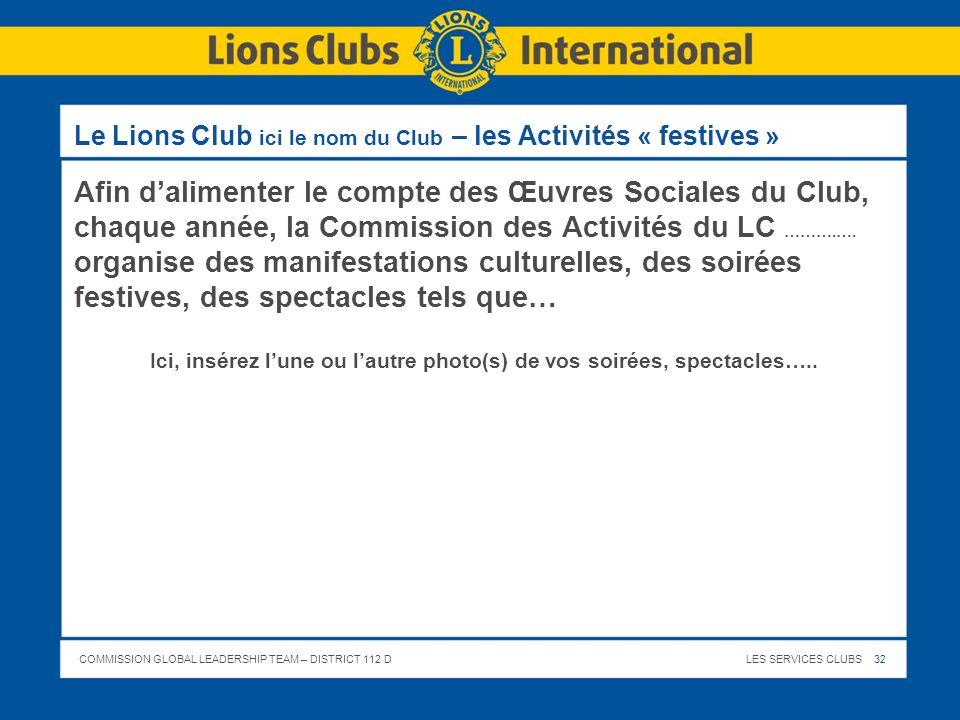 Le Lions Club ici le nom du Club – les Activités « festives »