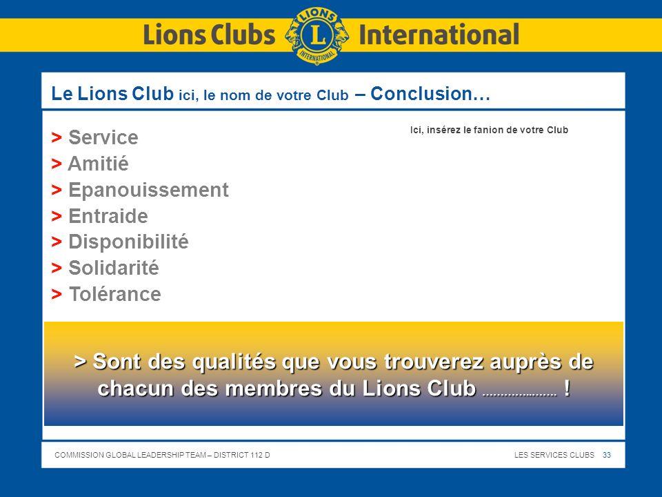 Le Lions Club ici, le nom de votre Club – Conclusion…