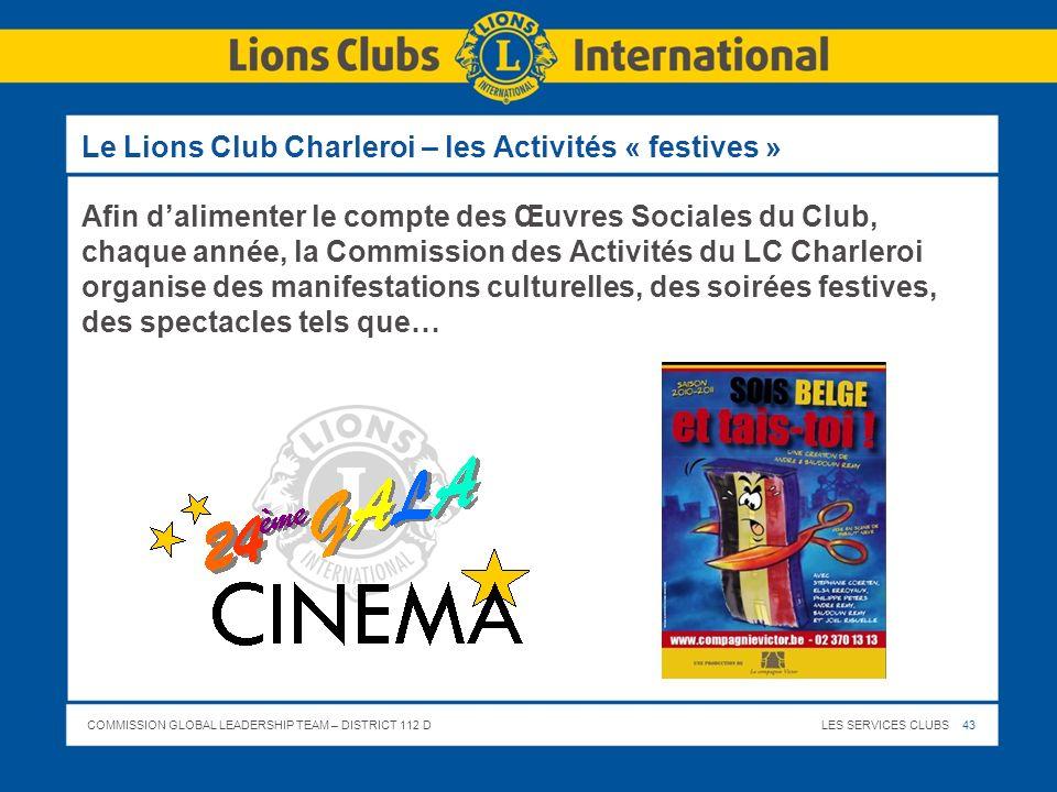 Le Lions Club Charleroi – les Activités « festives »