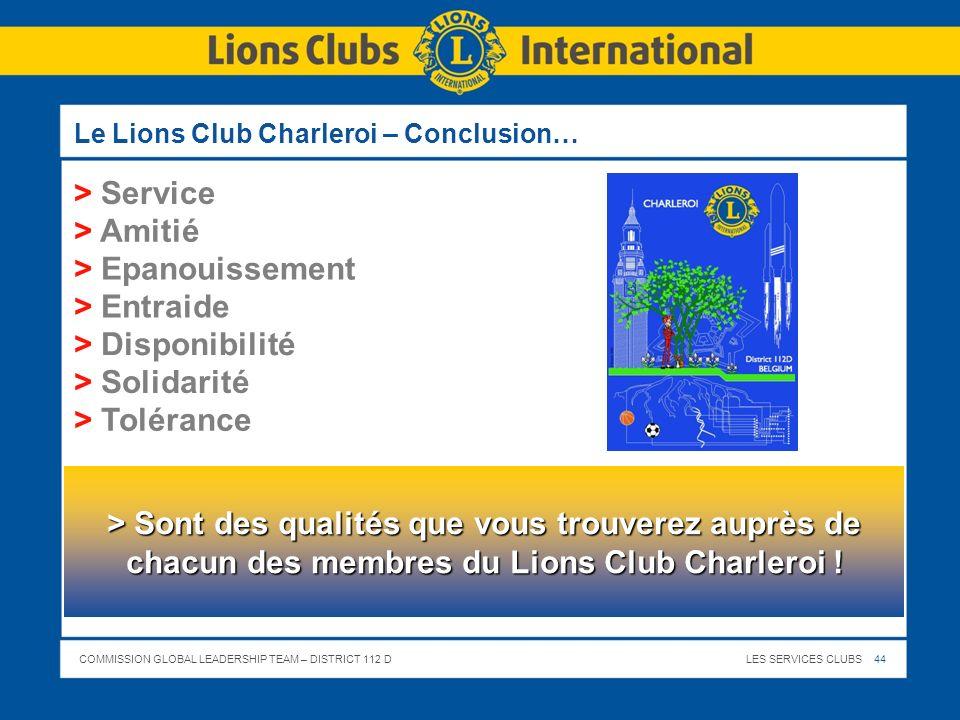 Le Lions Club Charleroi – Conclusion…