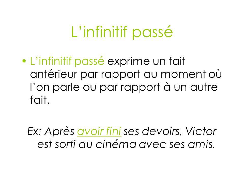 L'infinitif passé L'infinitif passé exprime un fait antérieur par rapport au moment où l'on parle ou par rapport à un autre fait.