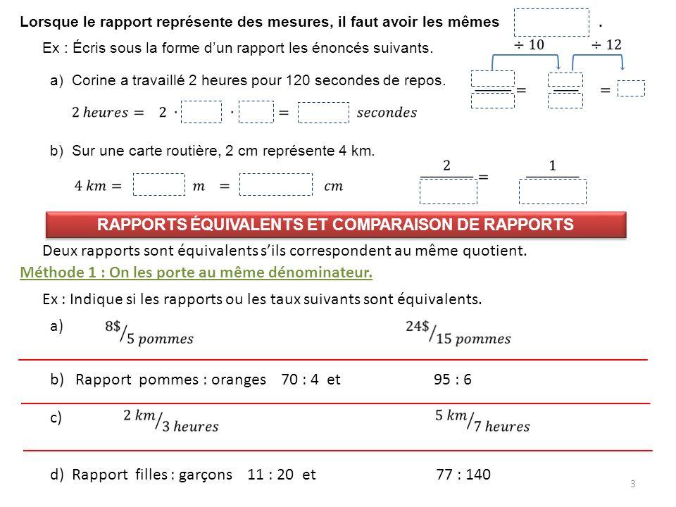 Rapports équivalents et comparaison de rapports