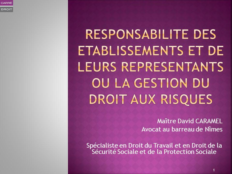 RESPONSABILITE DES ETABLISSEMENTS ET DE LEURS REPRESENTANTS OU LA GESTION DU DROIT AUX RISQUES