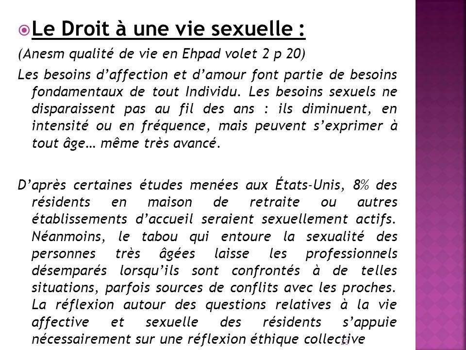 Le Droit à une vie sexuelle :