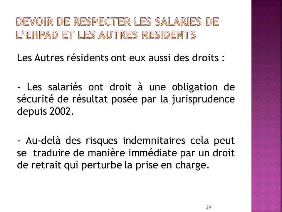 DEVOIR de RESPECTER LES SALARIES DE L'EHPAD ET LES AUTRES RESIDENTS