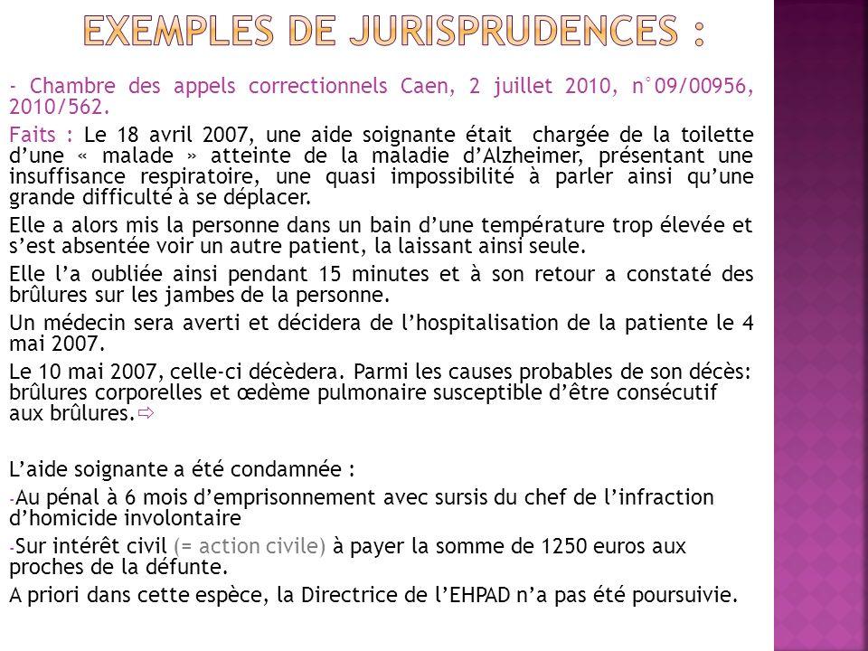 ExempleS de jurisprudenceS :