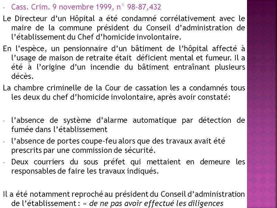 Cass. Crim. 9 novembre 1999, n° 98-87,432