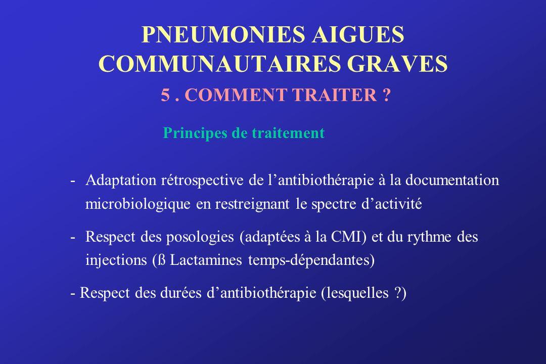 PNEUMONIES AIGUES COMMUNAUTAIRES GRAVES 5 . COMMENT TRAITER