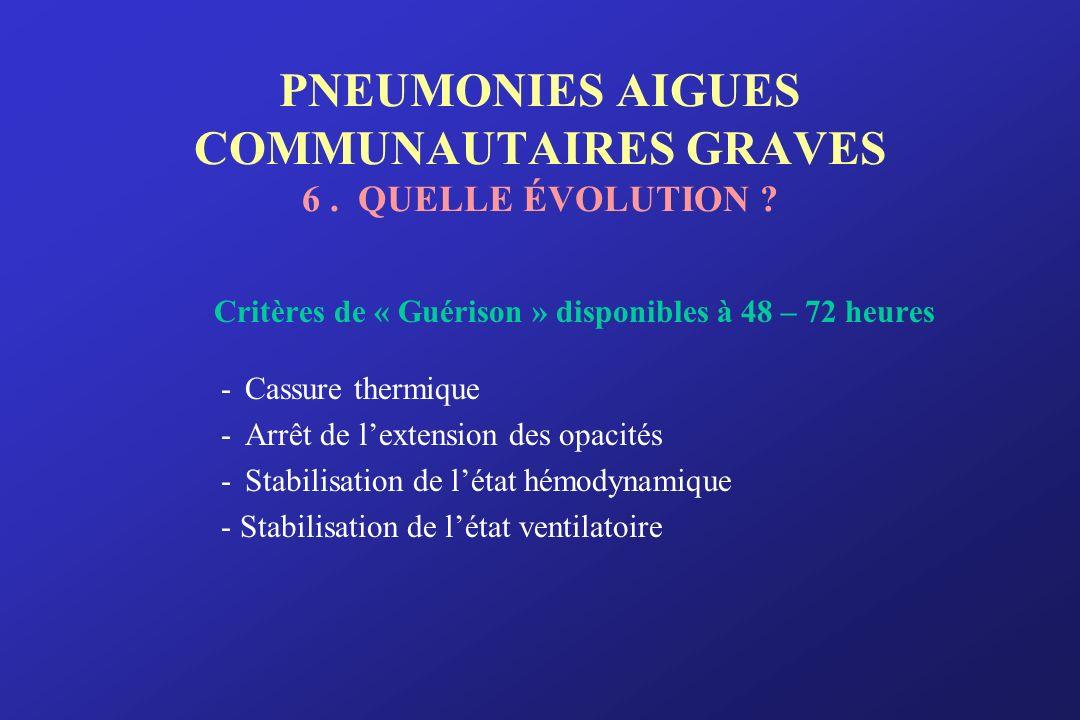 PNEUMONIES AIGUES COMMUNAUTAIRES GRAVES 6 . QUELLE ÉVOLUTION